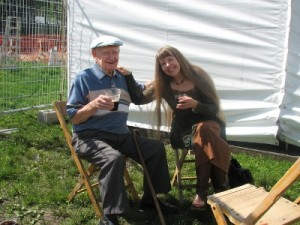 Mary, with Marty O'Keefe, a hundred-year-old fiddle player, at the Rochester Irish Festivalin 2011.